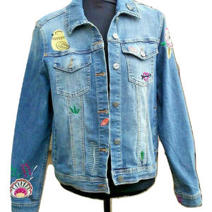 Nanette Lepore Embroidered Denim Jean Jacket Large